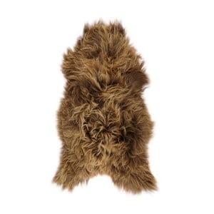 Hnedá ovčia kožušina s dlhým vlasom Dujo, 110 x 60 cm