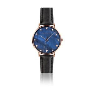 Dámske hodinky s čiernym remienkom z pravej kože Emily Westwood Daisy