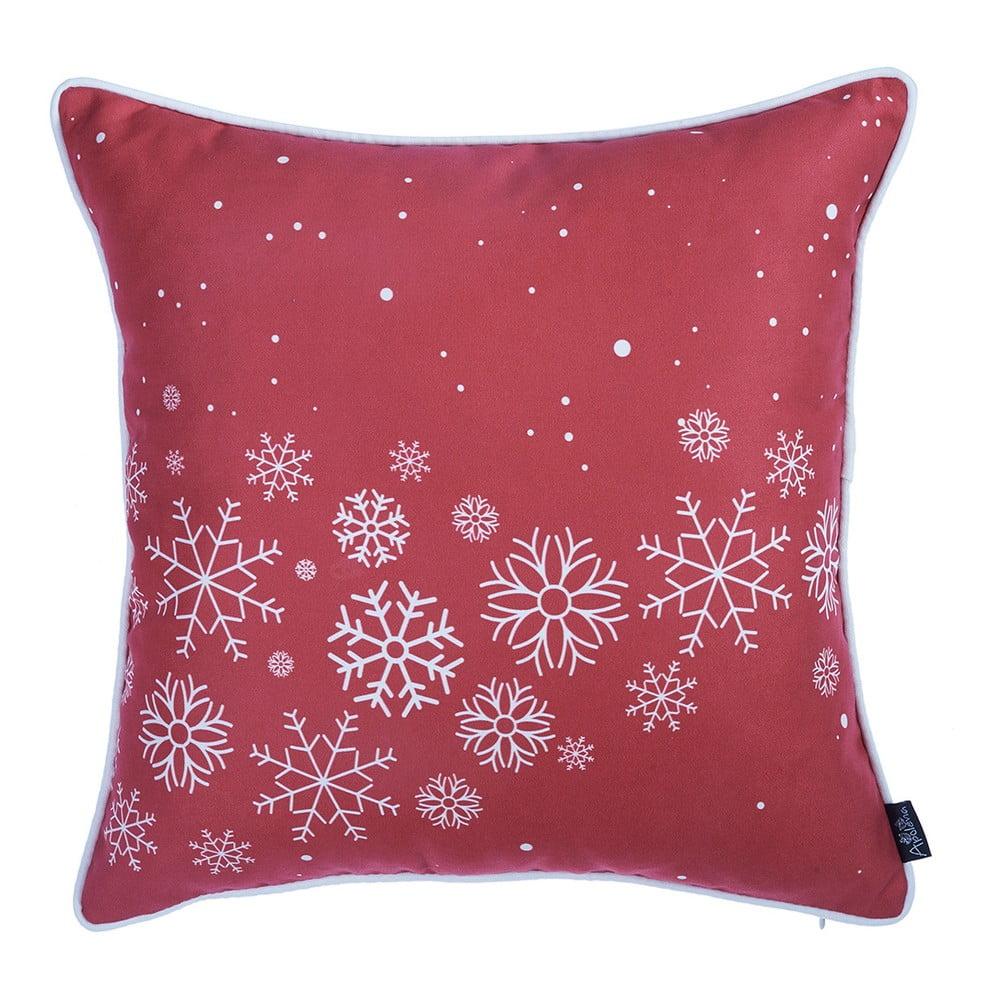 Červená obliečka na vankúš s vianočným motívom Apolena Honey Snowflakes, 45 × 45 cm