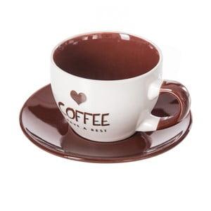 Hnedo-biely kameninový hrnček s tanierikom Unimasa Coffee, 220 ml