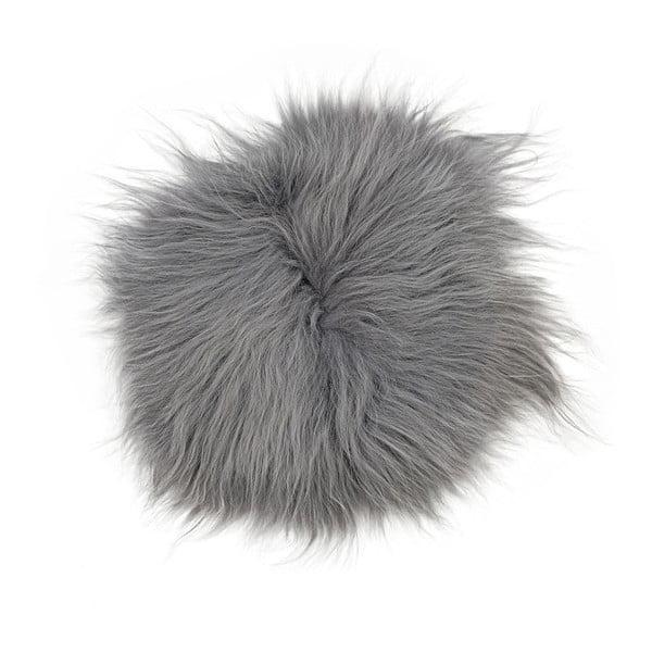 Sivý kožušinový podsedák s dlhým vlasom, Ø 35 cm