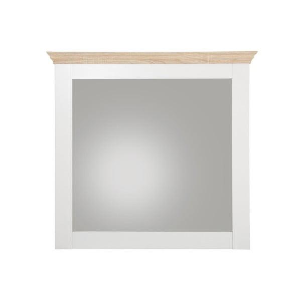 Biele nástenné zrkadlo s detailmi v dubovom dekore Støraa Bruce