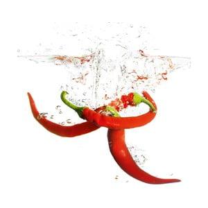 Sklenený obraz Splashing Chili Pepper, 20x20 cm