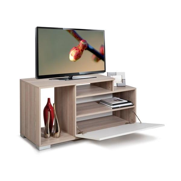 Televízny stolík Nesta, biely/dub cordoba