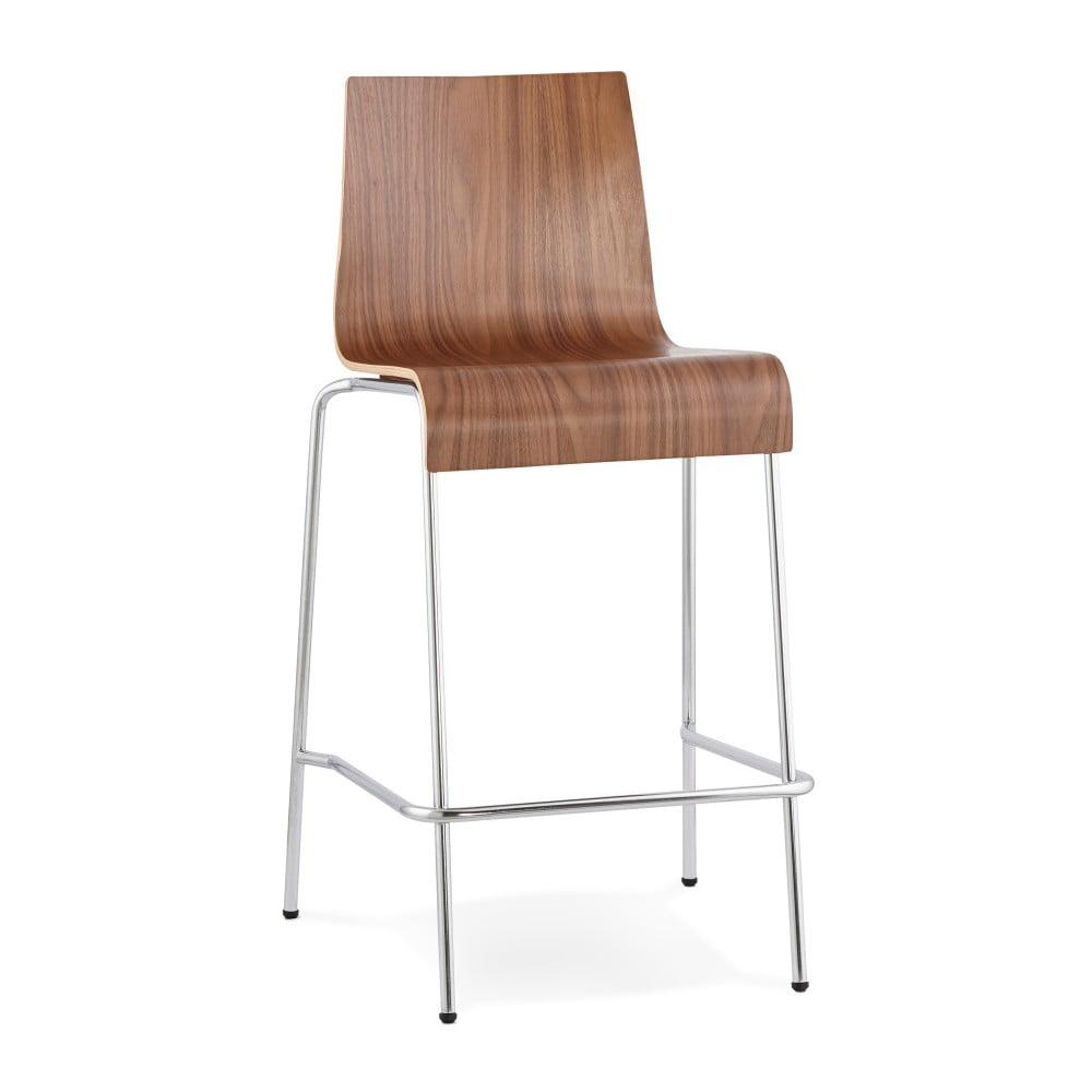 Barová stolička so sdadlom v dekóre orechového dreva Kokoon Cobe, výška 65 cm