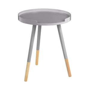 Sivý odkladací stolík Viborg, ⌀ 40 cm