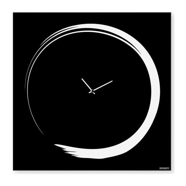 Nástenné hodiny dESIGNoBJECT.it Enso Clock Black, 50 x 50 cm