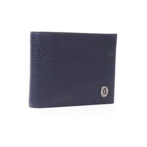 Modrá pánska kožená peňaženka Trussardi Moneymaker, 12,5 × 9,5 cm