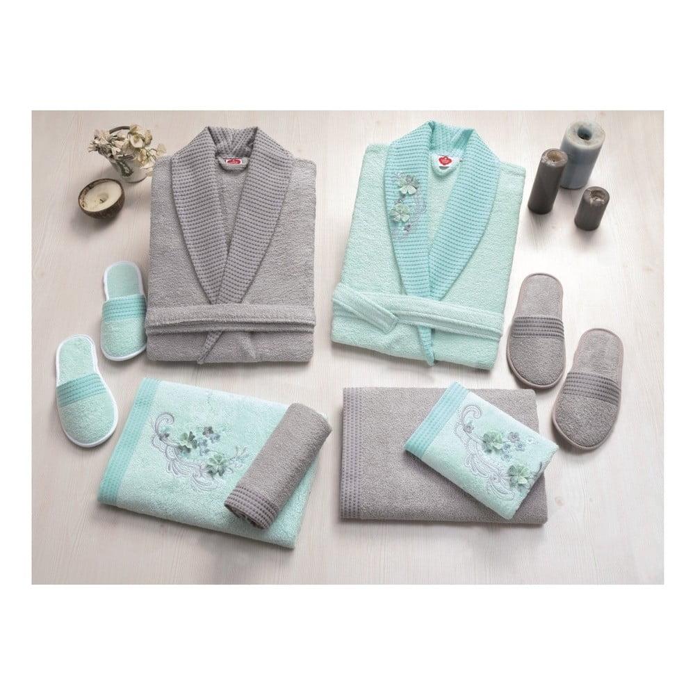 Set dámského a pánského župana, uterákov, osušiek a dvoch párov papúč v sivej a tyrkysovej farbe Family Bath