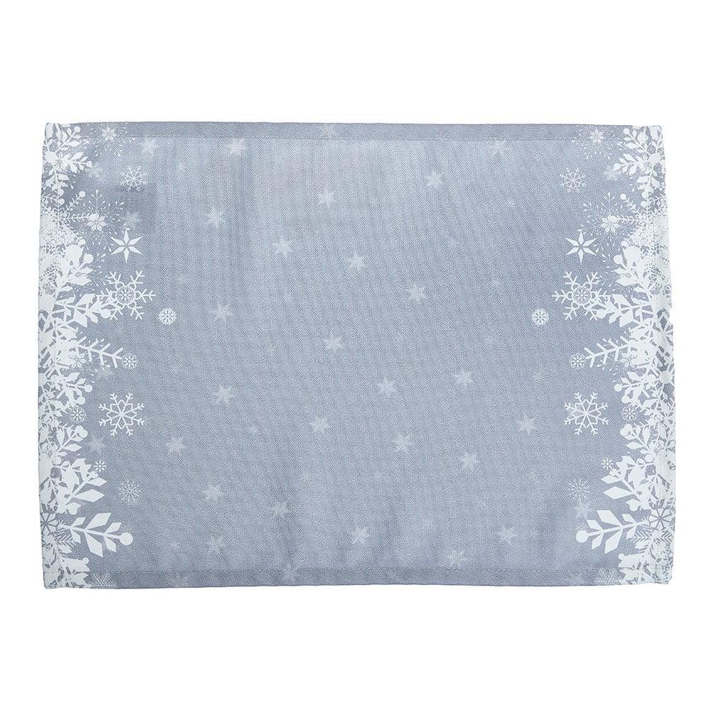 Sada 2 sivých prestieraní s vianočným motívom Apolena Honey Snowflakes, 33 × 45 cm