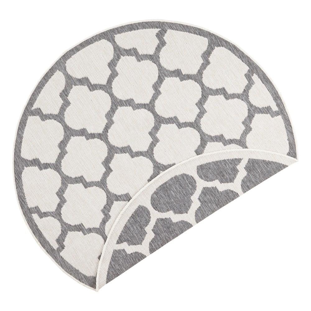 Sivo-krémový vonkajší koberec Bougari Palermo, ⌀ 140 cm