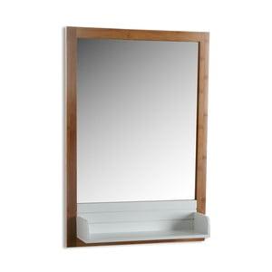 Nástenné kúpeľnové zrkadlo s bielou policou Versa