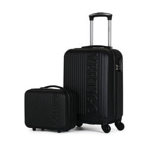 Sada 2 čiernych cestovných kufrov na kolieskach VERTIGO Valises Cabine & Vanity Case