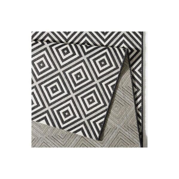 Čierny koberec vhodný aj do exteriéru Karo, 200×290 cm