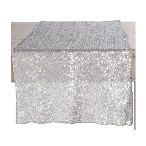 Sivý flitrovaný behúň na stôl Sequin, 42x150 cm