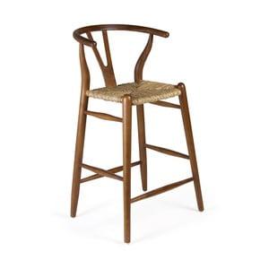 Barová stolička z dreva bieleho cédra a ratanu Moycor, výška 97 cm