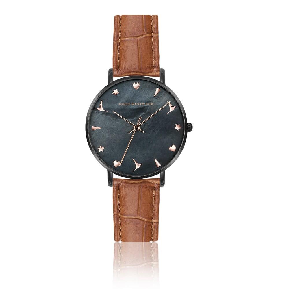 Dámske hodinky s hnedým remienkom z pravej kože Emily Westwood Noir 4258a37f4e