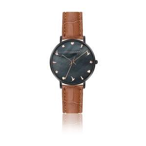 Dámske hodinky s hnedým remienkom z pravej kože Emily Westwood Noir