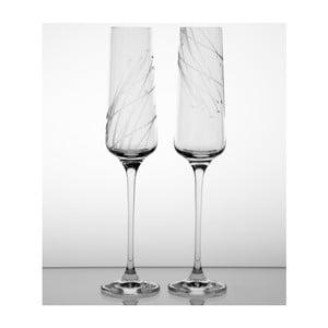Ateliér Žampach, set 2 ks pohárov na šampanské Sitina