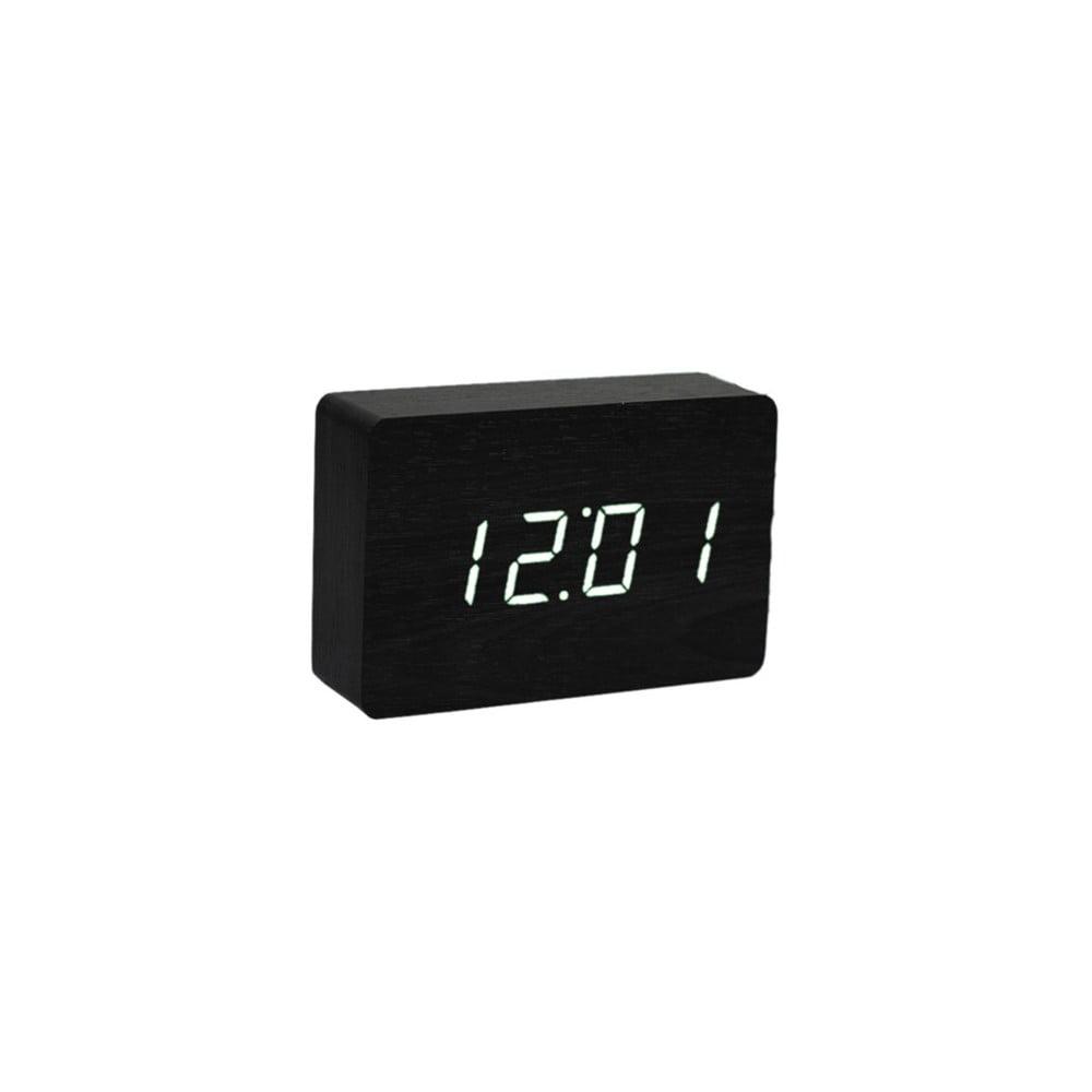 Čierny budík s bielym LED displejom Gingko Brick Click Clock