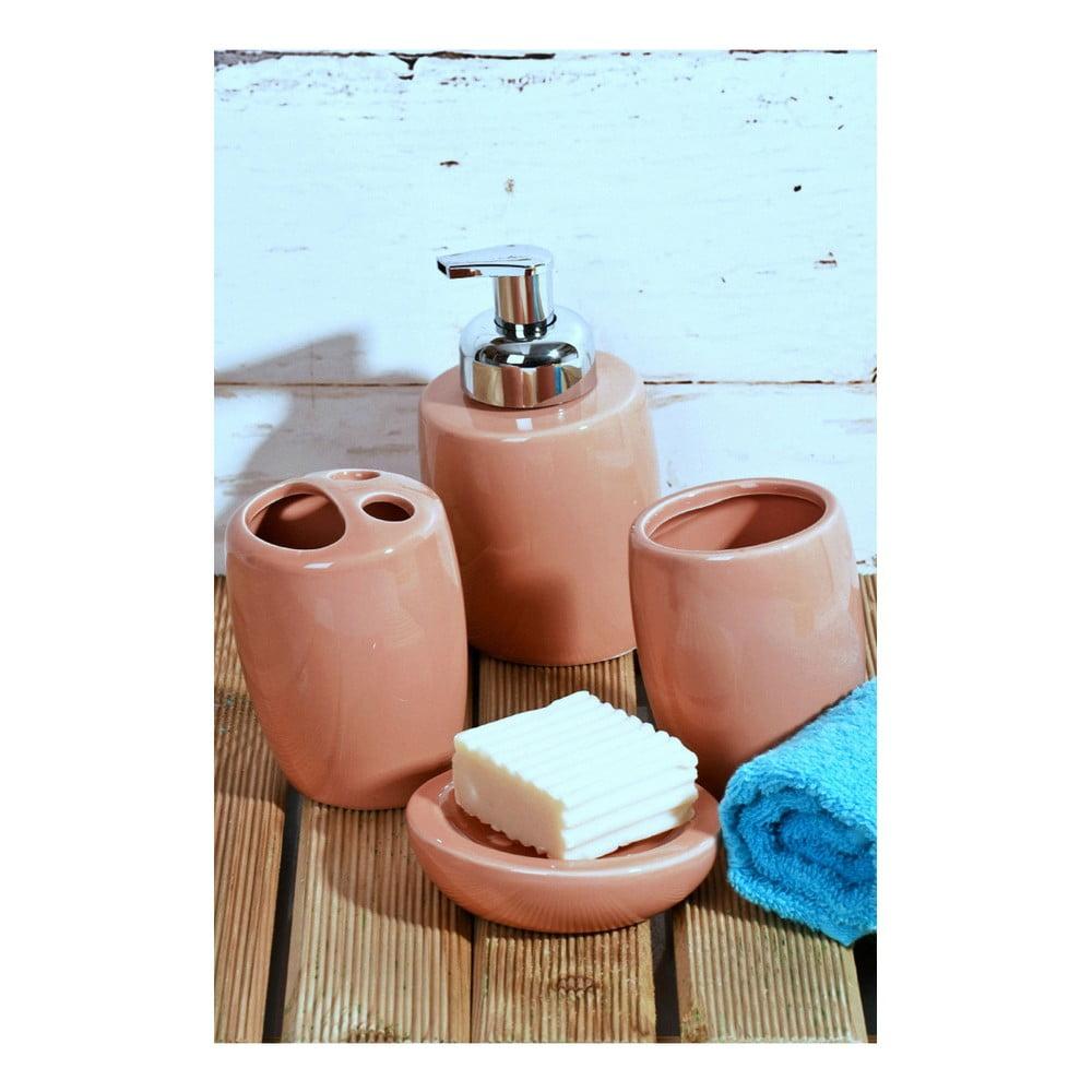 Ružový kúpeľňový set z keramiky