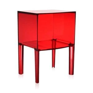 Červený transparentný nočný stolík Kartell Ghost Buster
