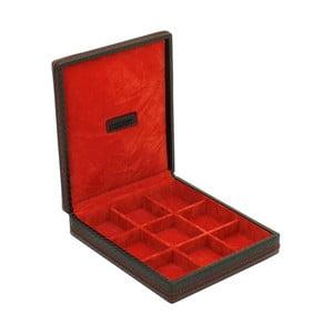 Červená puzdro na manžetové gombíčky Firedrich Lederwaren Carbon