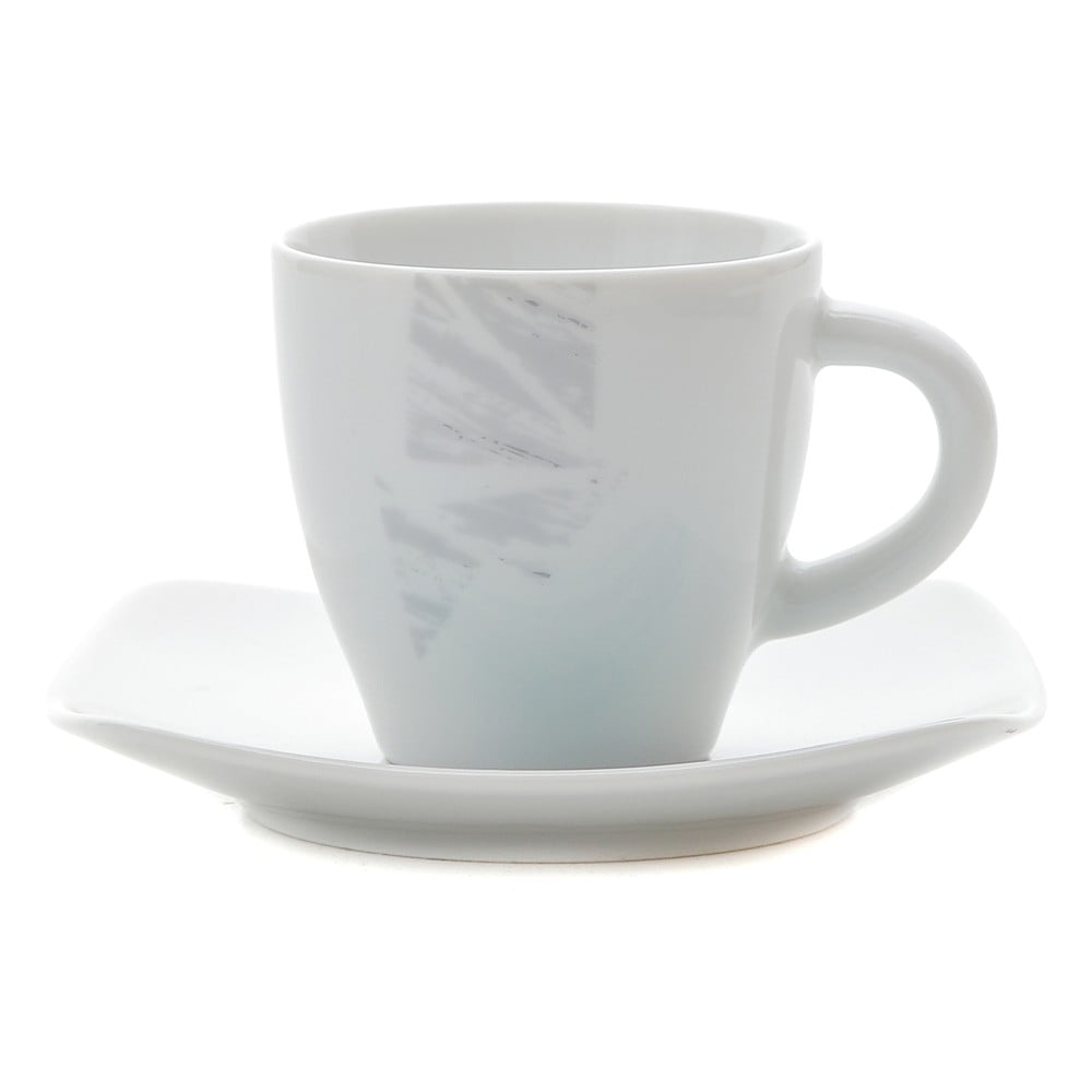 Sada 6 porcelánových hrnčekov na kávu s tanierikmi Kasanova Moris Tiffany