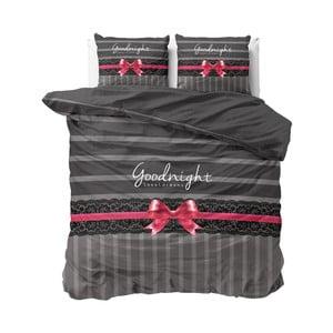 Sivé obliečky Sleeptime Goodnight Ribbon, 240×220 cm