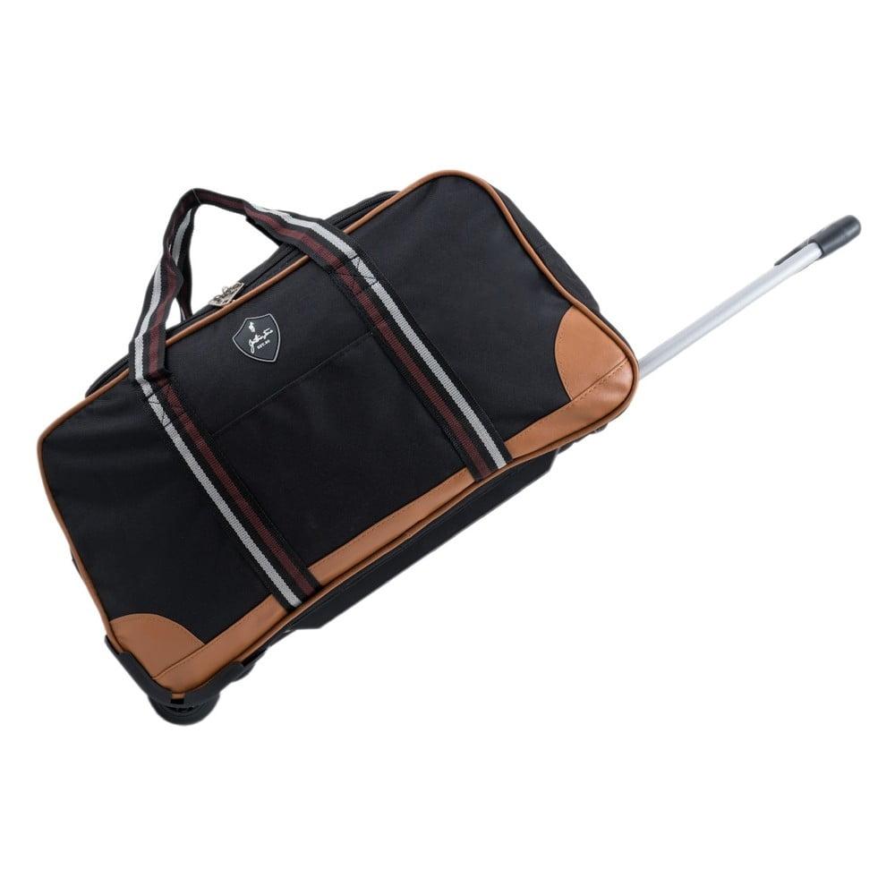 Čierna cestovná taška na kolieskách GENTLEMAN FARMER Sydney, 40 l