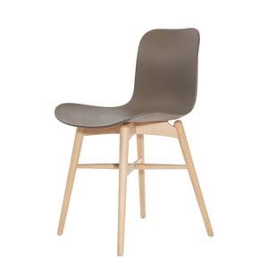 Hnedá jedálenská stolička z masívneho bukového dreva NORR11 Langue Natural