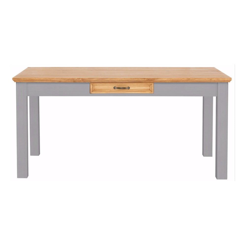 Sivý jedálenský stôl z masívneho borovicového dreva so zásuvkou Støraa Suzie