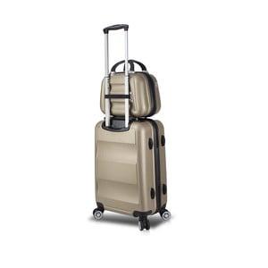 Sada zlatého cestovného kufra na kolieskach s USB portom a príručného kufríka My Valice LASSO MU & Medium