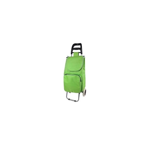 Zelený nákupný košík na kolieskach s termo kapsou Jocca