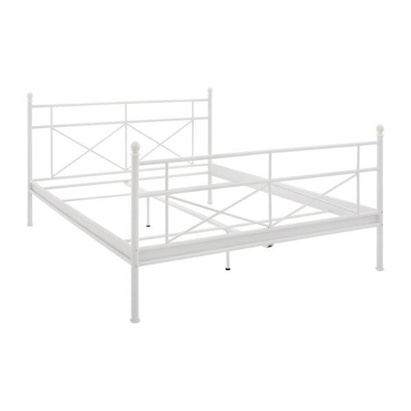 Biela kovová dvojlôžková posteľ Støraa Tanja, 140 x 200 cm
