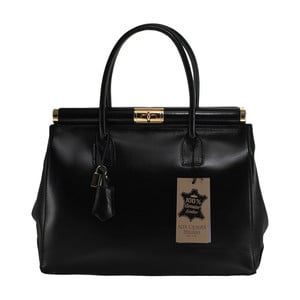 Čierna kožená kabelka Chicca Borse Tammy