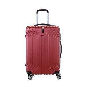 Tmavočervený cestovný kufor na kolieskách s kódovým zámkom SINEQUANONE Elisabeth, 71 l