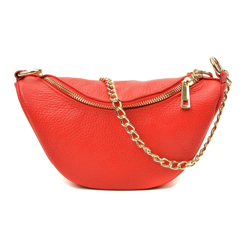 Červená kožená kabelka Luisa Vannini Lucia