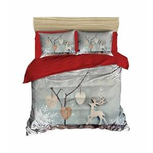 Vianočné obliečky na dvojlôžko s plachtou Nicola, 160×220 cm