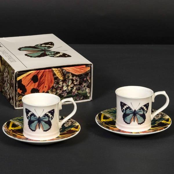Sada 2 šálok s tanierikmi Curious Butterfly
