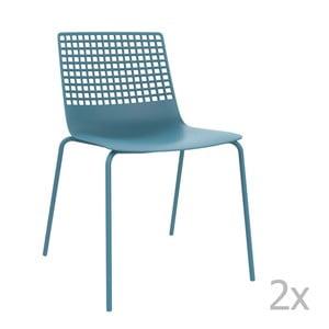 Sada 2 modrých záhradných stoličiek Resol Wire