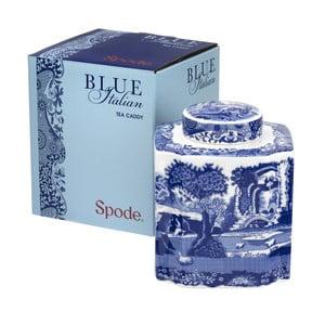 Bielo-modrá porcelánová dóza na čaj Spode Blue Italian