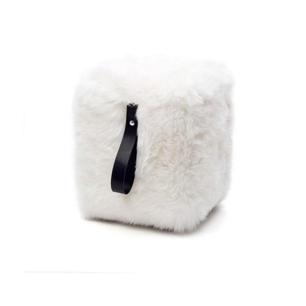 Bielo-čierny hranatý puf z ovčej vlny Royal Dream