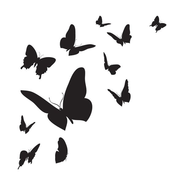 Samolepka na stenu Butterfly Silhouette