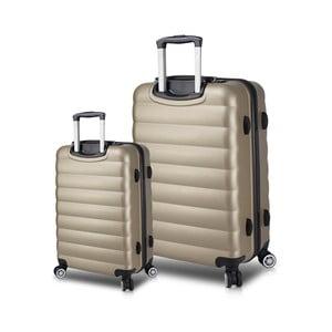 Sada 2 cestovných kufrov na kolieskach s USB porty v zlatej farbe My Valice RESSNO Cabin & Large