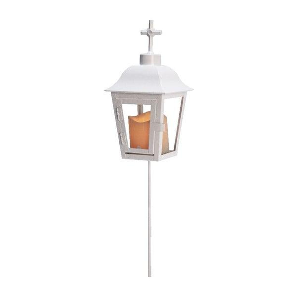 Biely LED záhradný lampáš svymeniteľným vrchom Best Season Ball