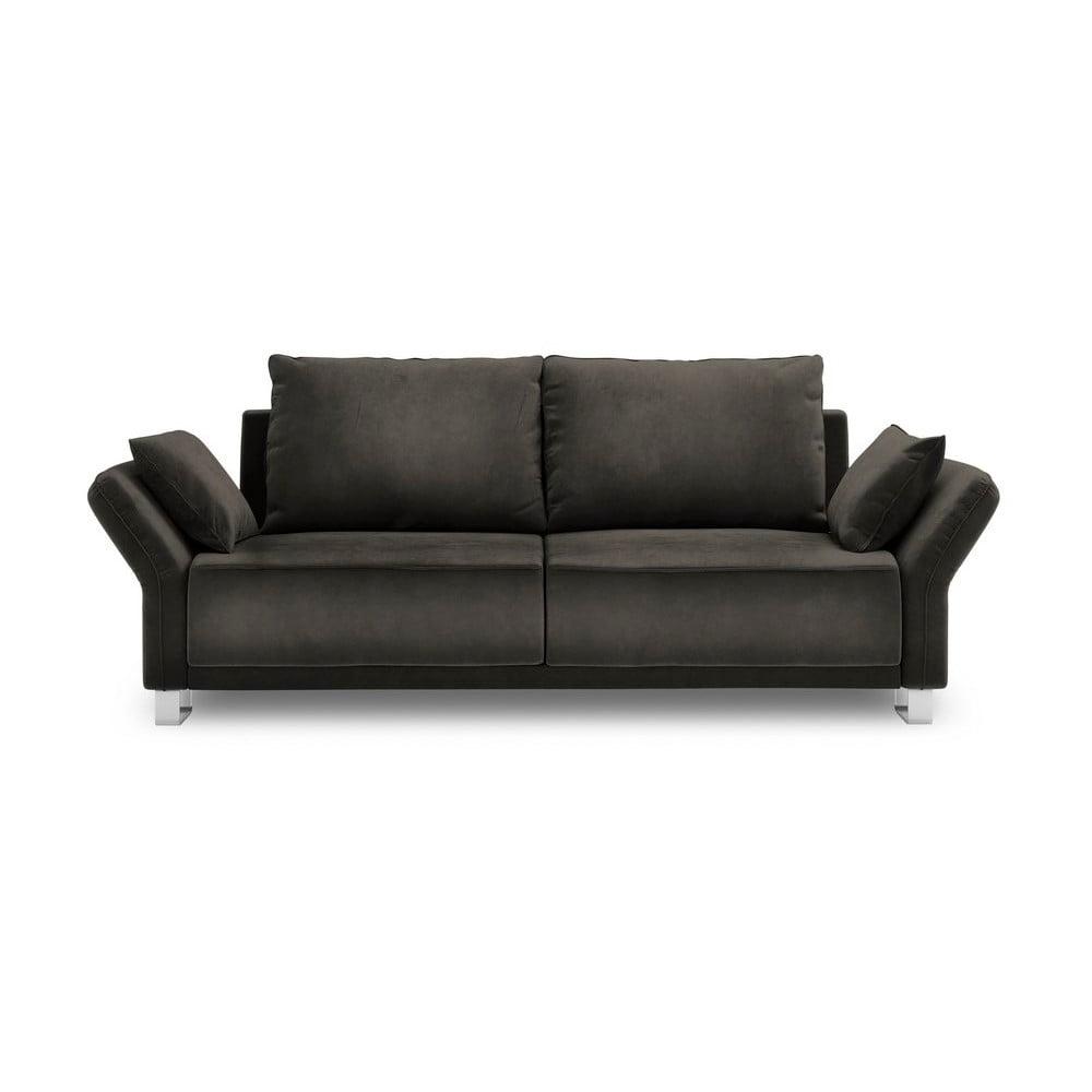 Tmavohnedý trojmiestna rozkladacia pohovka so zamatovým poťahom Windsor & Co Sofas Pyxis