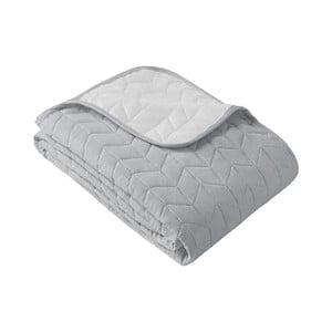 Bielo-sivý obojstranný pléd cez posteľ Slowdeco So Simply, 170×210 cm
