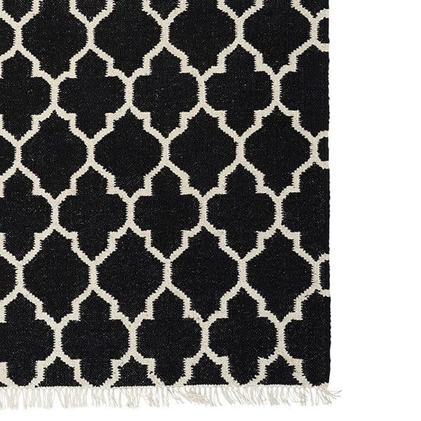 Čierny ručne tkaný vlnený koberec Linie Design Arifa, 200x300cm
