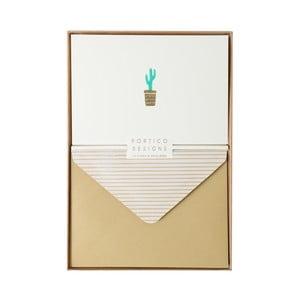 Sada 10 komplimentiek s obálkami Portico Designs FOIL Cactus